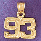 Number 93 Charm Bracelet or Pendant Necklace in Yellow, White or Rose Gold DZ-951193 by Dazzlers