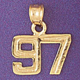 Number 97 Charm Bracelet or Pendant Necklace in Yellow, White or Rose Gold DZ-951197 by Dazzlers