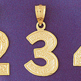 Number 3 Charm Bracelet or Pendant Necklace in Yellow, White or Rose Gold DZ-95093 by Dazzlers
