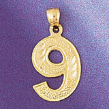 Number 9 Charm Bracelet or Pendant Necklace in Yellow, White or Rose Gold DZ-95099 by Dazzlers