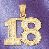 Number 18 Charm Bracelet or Pendant Necklace in Yellow, White or Rose Gold DZ-950918 by Dazzlers