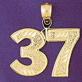 Number 37 Charm Bracelet or Pendant Necklace in Yellow, White or Rose Gold DZ-950937 by Dazzlers