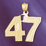 Number 47 Charm Bracelet or Pendant Necklace in Yellow, White or Rose Gold DZ-950947 by Dazzlers