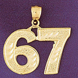 Number 67 Charm Bracelet or Pendant Necklace in Yellow, White or Rose Gold DZ-950967 by Dazzlers
