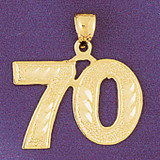 Number 70 Charm Bracelet or Pendant Necklace in Yellow, White or Rose Gold DZ-950970 by Dazzlers
