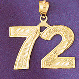 Number 72 Charm Bracelet or Pendant Necklace in Yellow, White or Rose Gold DZ-950972 by Dazzlers