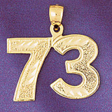 Number 73 Charm Bracelet or Pendant Necklace in Yellow, White or Rose Gold DZ-950973 by Dazzlers