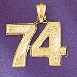 Number 74 Charm Bracelet or Pendant Necklace in Yellow, White or Rose Gold DZ-950974 by Dazzlers