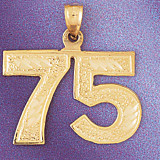 Number 75 Charm Bracelet or Pendant Necklace in Yellow, White or Rose Gold DZ-950975 by Dazzlers