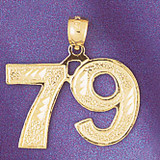 Number 79 Charm Bracelet or Pendant Necklace in Yellow, White or Rose Gold DZ-950979 by Dazzlers