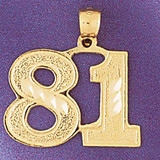 Number 81 Charm Bracelet or Pendant Necklace in Yellow, White or Rose Gold DZ-950981 by Dazzlers