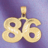 Number 86 Charm Bracelet or Pendant Necklace in Yellow, White or Rose Gold DZ-950986 by Dazzlers
