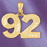 Number 92 Charm Bracelet or Pendant Necklace in Yellow, White or Rose Gold DZ-950992 by Dazzlers