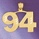 Number 94 Charm Bracelet or Pendant Necklace in Yellow, White or Rose Gold DZ-950994 by Dazzlers