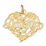 Daughter Heart Pendant Necklace Charm Bracelet in Gold or Silver 9919
