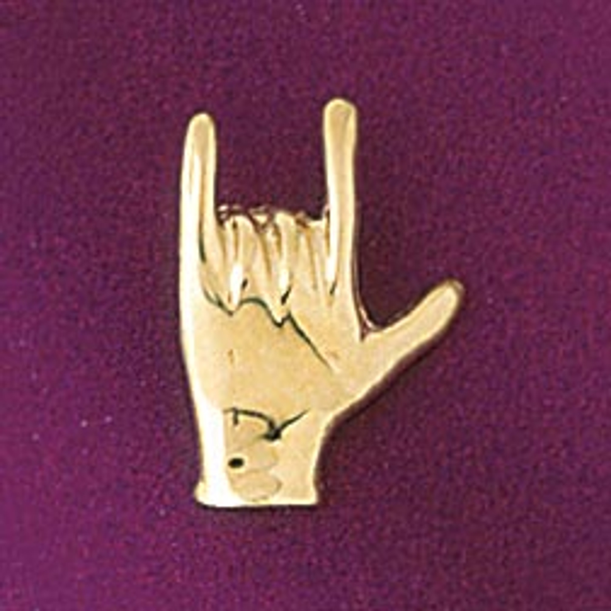 I Love You Hand/Sign Language Pendant Necklace Charm Bracelet in Gold or  Silver 6517