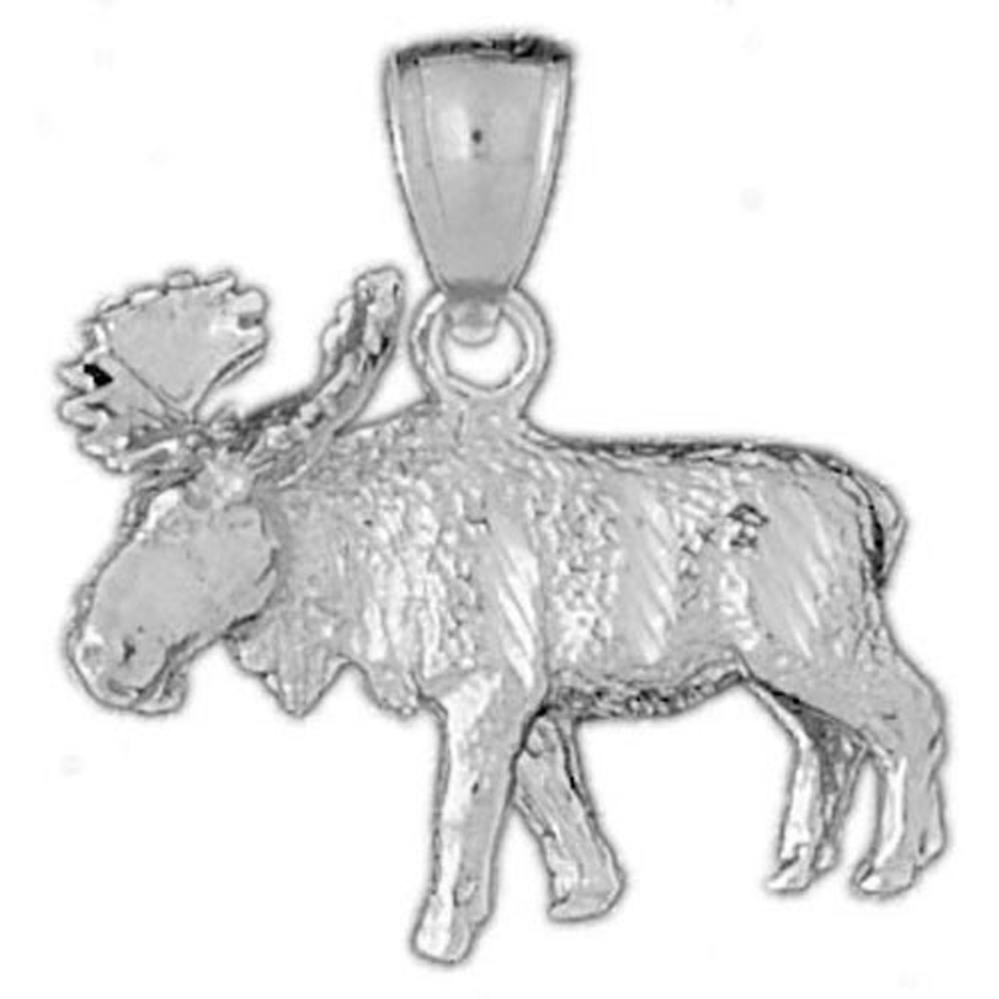 MOOSE ELK DEER .925 Solid Sterling Silver Charm Pendant MADE IN USA