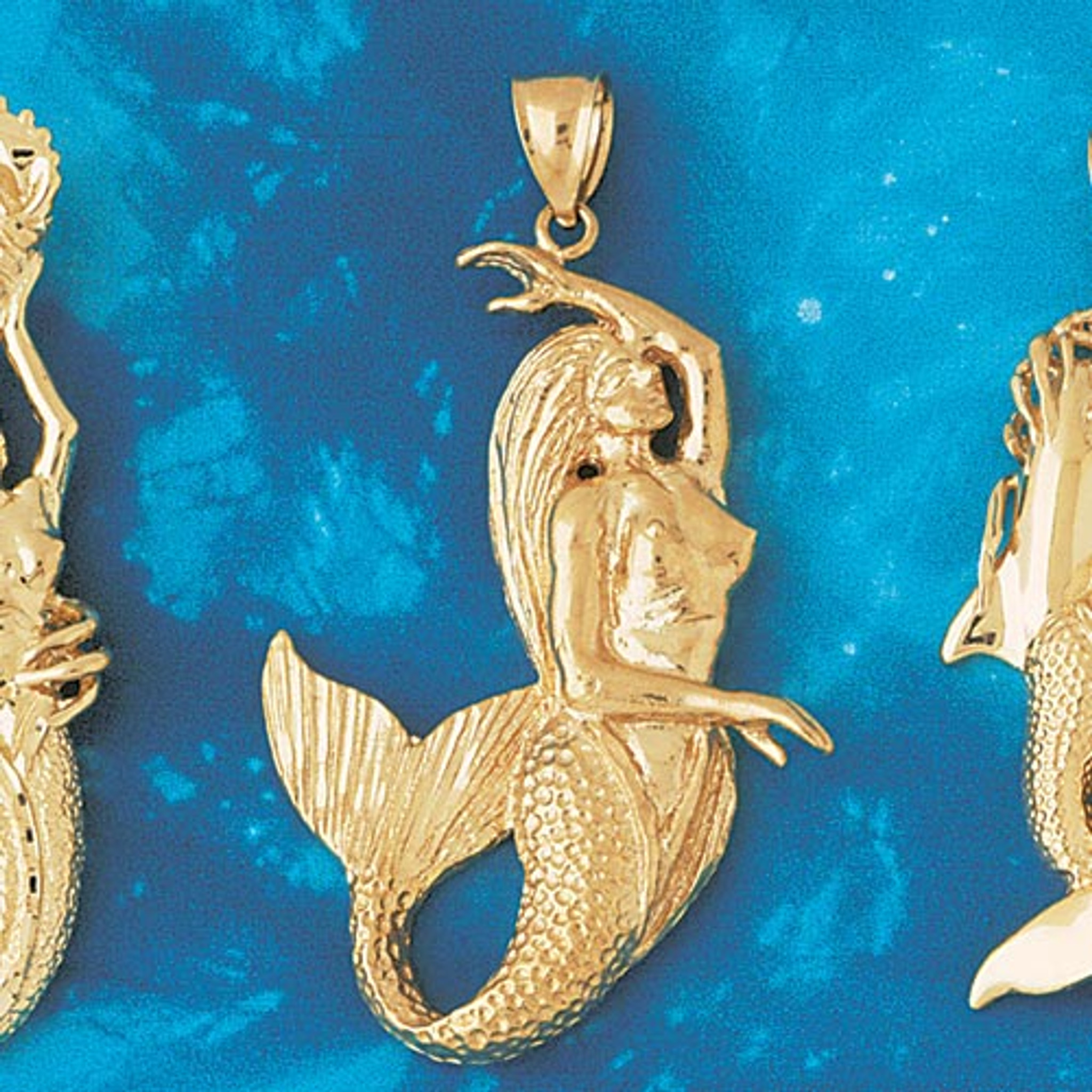 .925 Sterling Silver Mermaid Charm Pendant Necklace