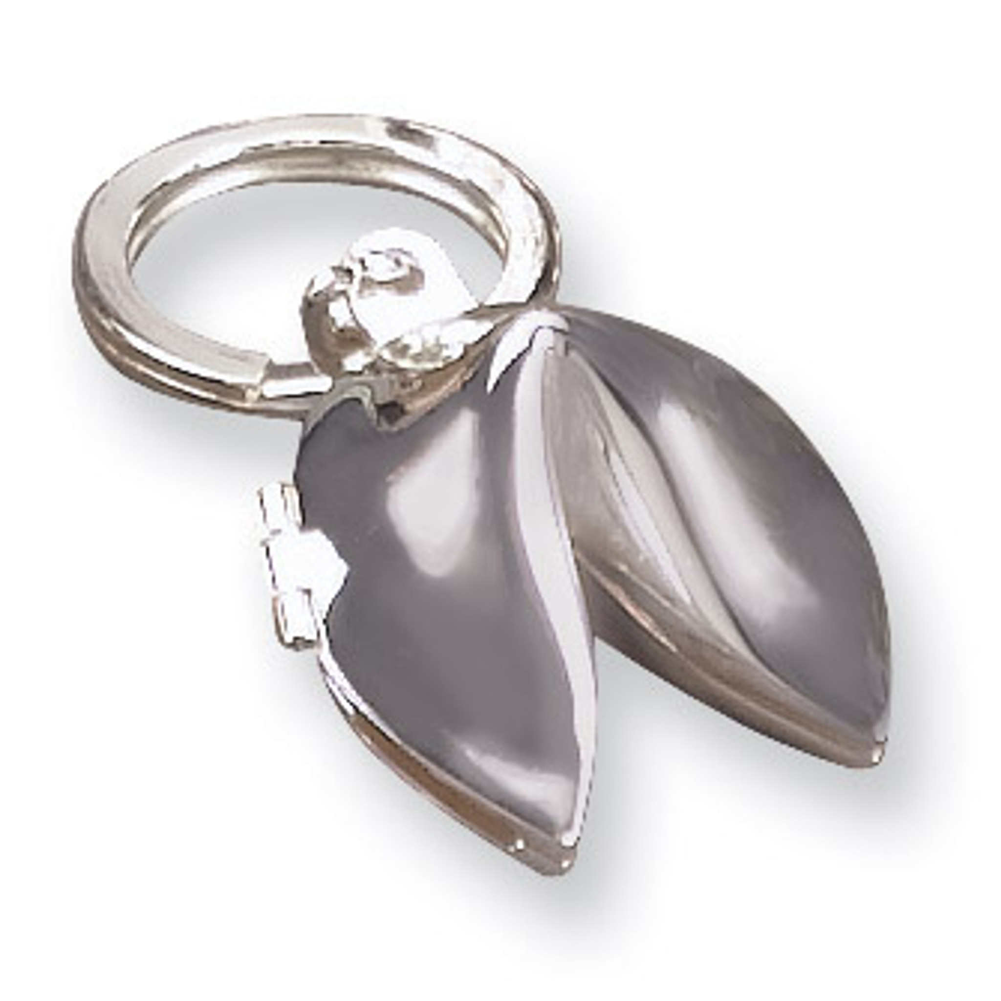Silver Tone Metal Fortune Cookie Key Chain Ring