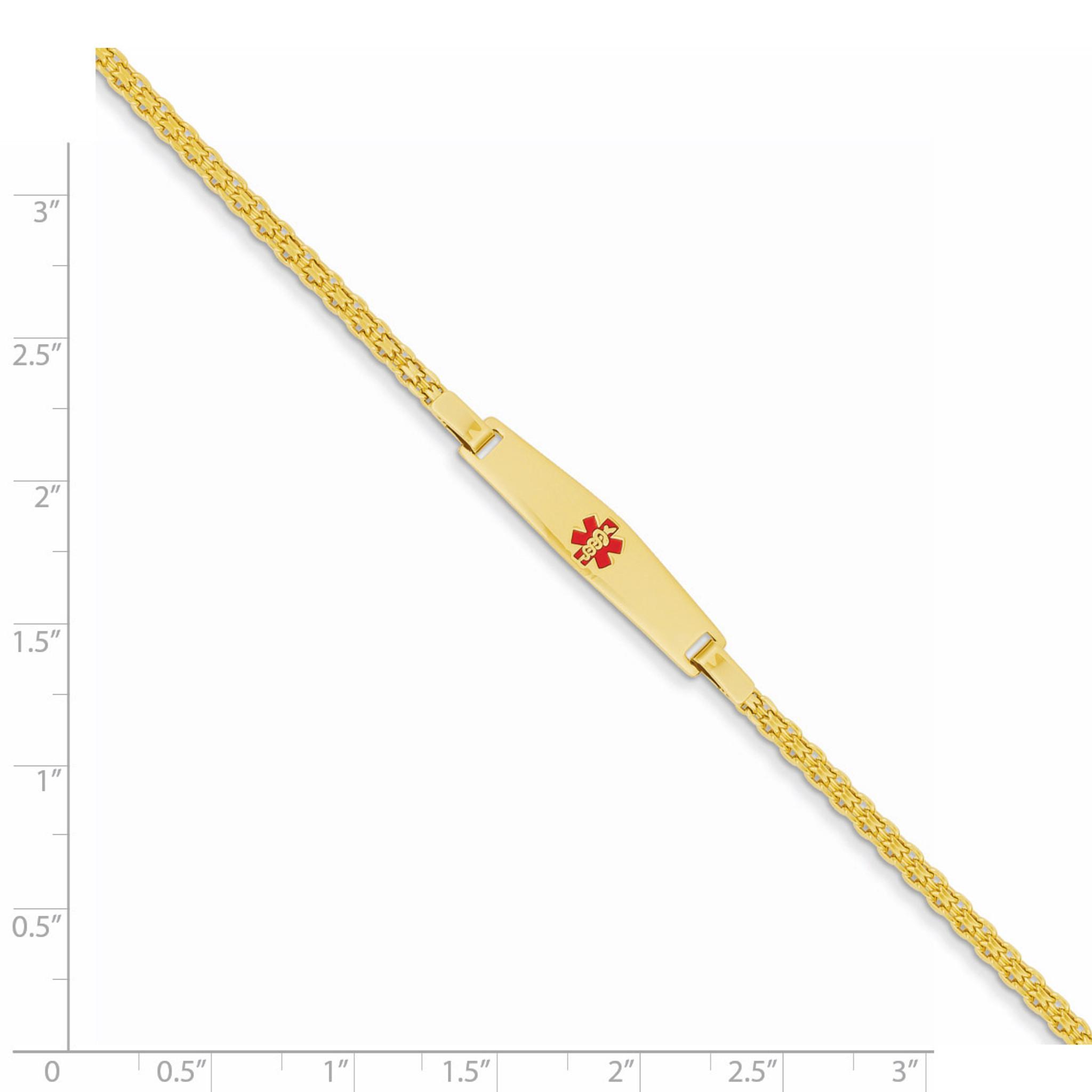 14K Gold Red Enamel Childrens Medical Bracelet XM420-6