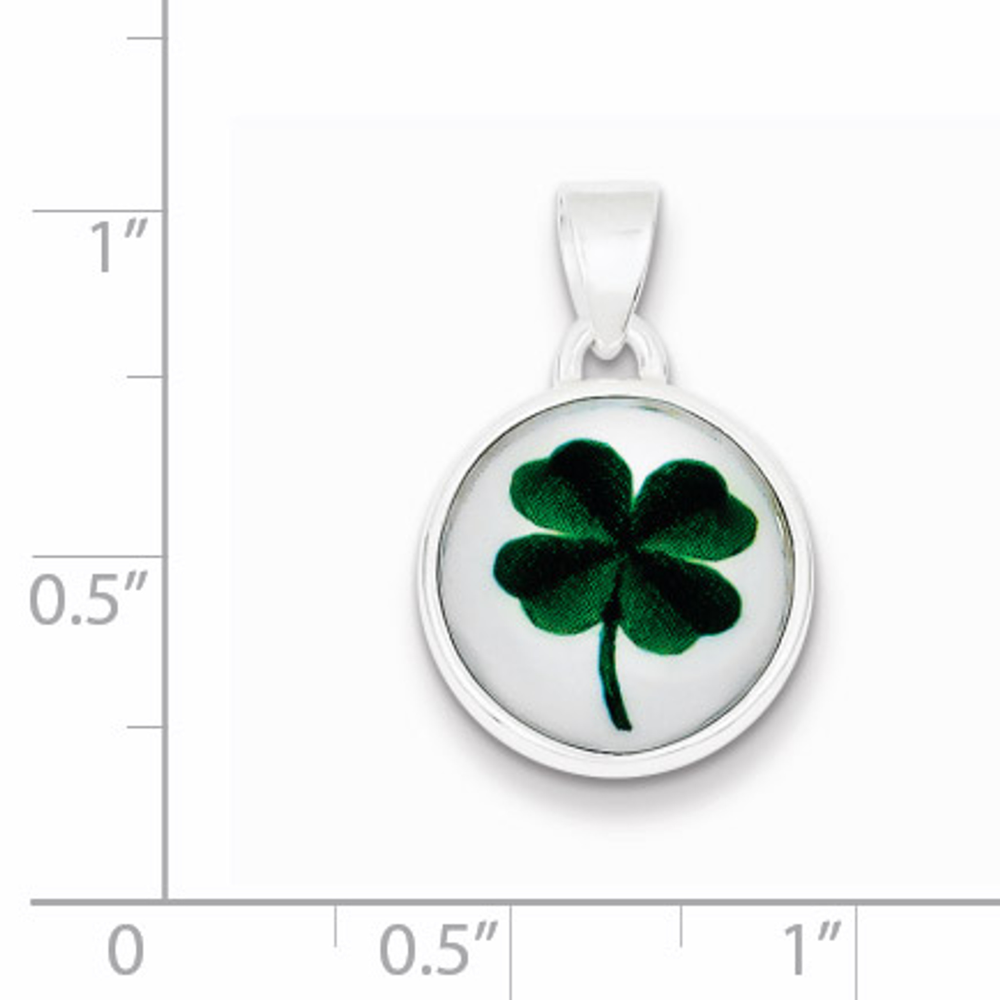 Sterling Silver Rhodium-plated Polished//Textured 4 Leaf Clover Pendant