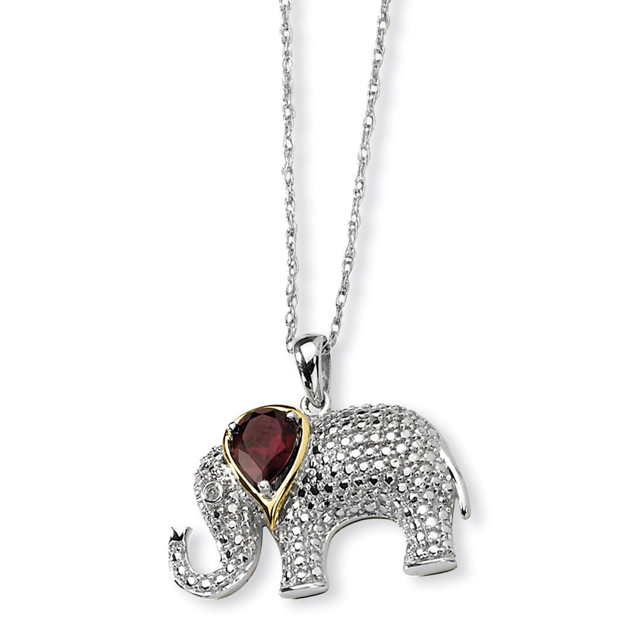 Sterling Silver Polished /& Textured Elephant Pendant