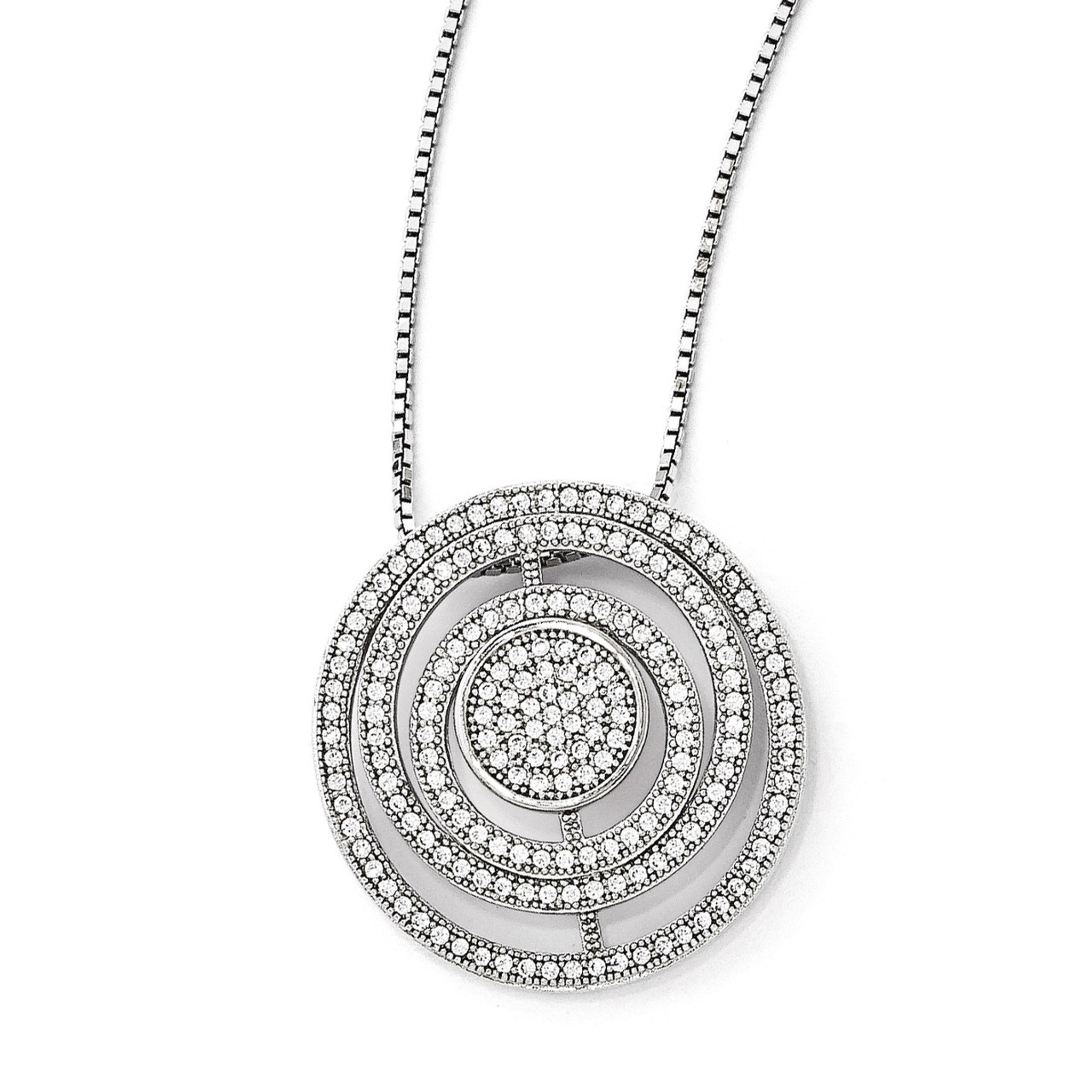 Brilliant Embers Sterling Silver Rhodium-plated Polished CZ Pendant Necklace 18 2 Extender