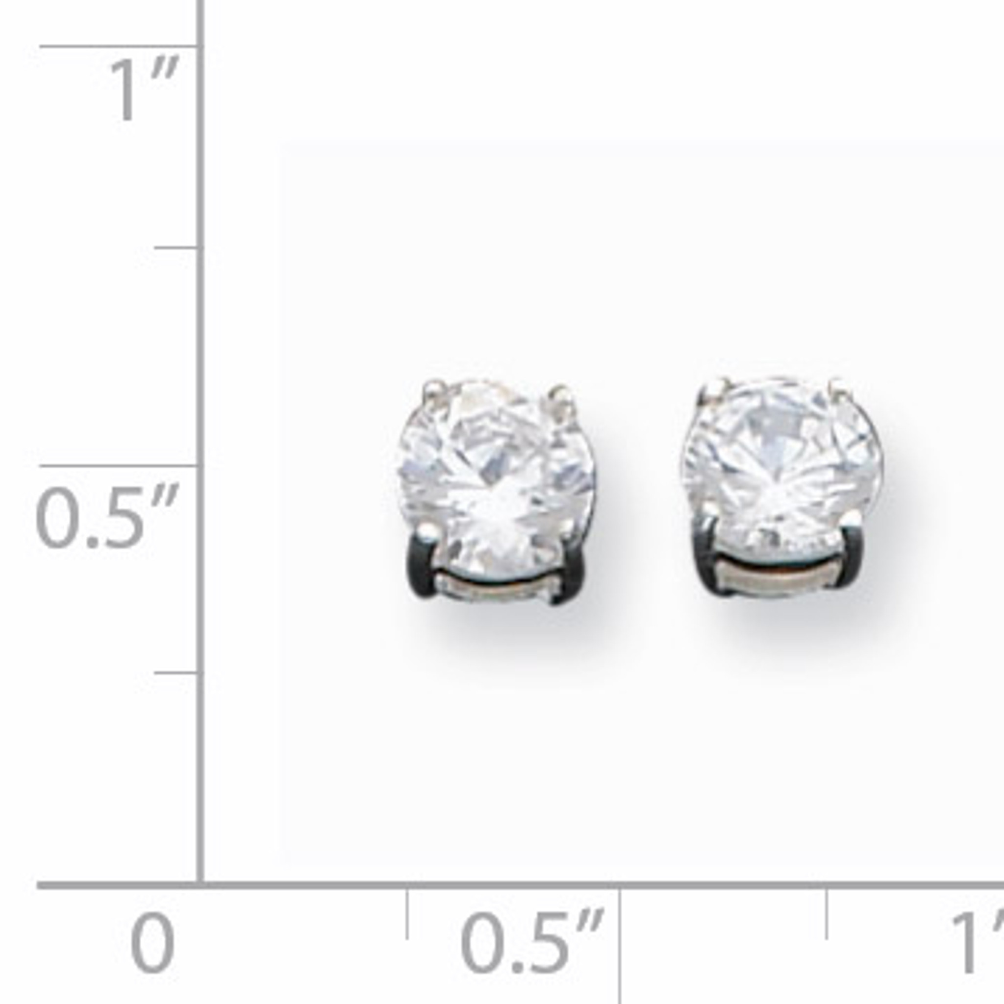 Clear Diamond Night Owl Petite Stud Post Earrings Sterling Silver 925 Black