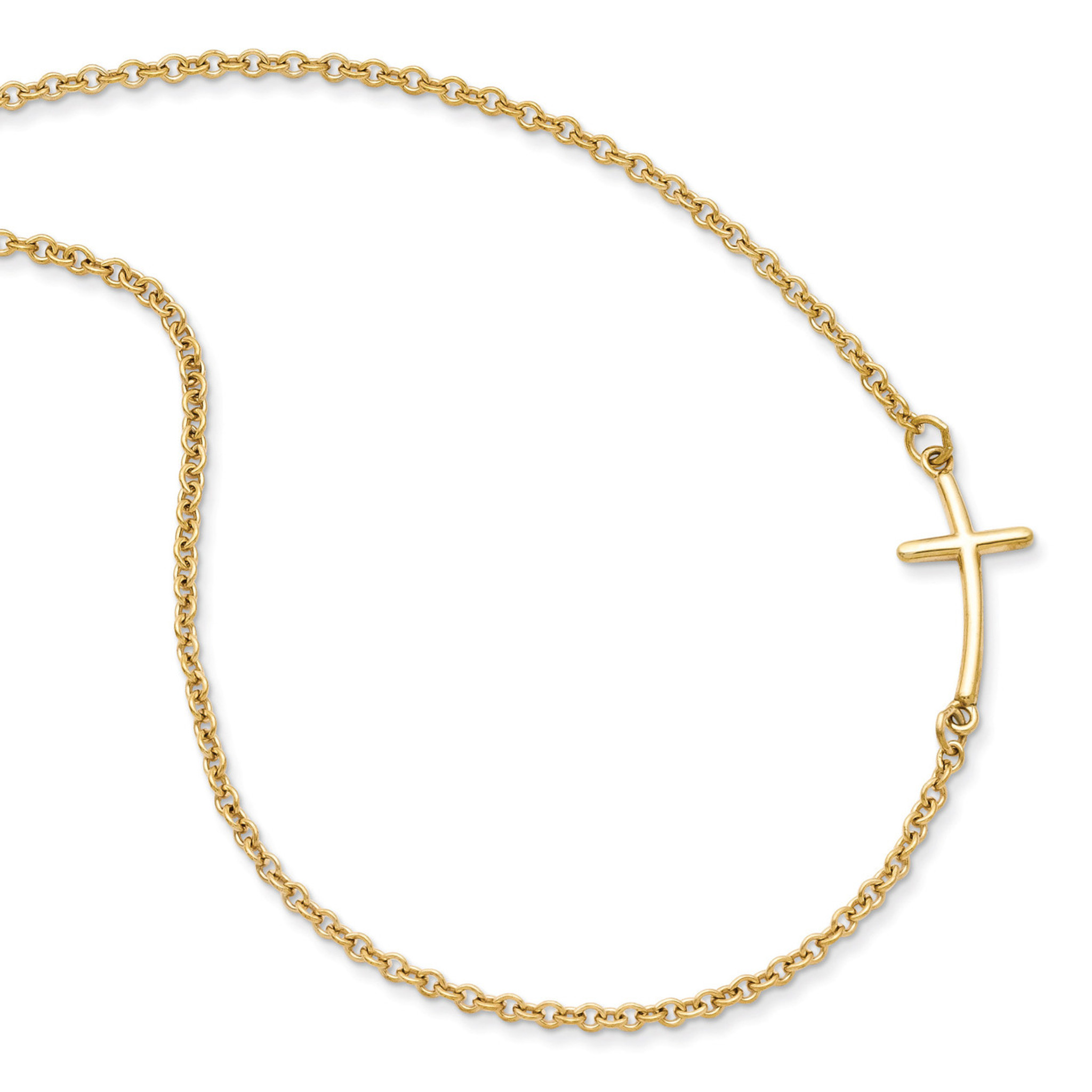 Sterling Silver Rose Gold-plated Large Sideways Curved Cross Necklace
