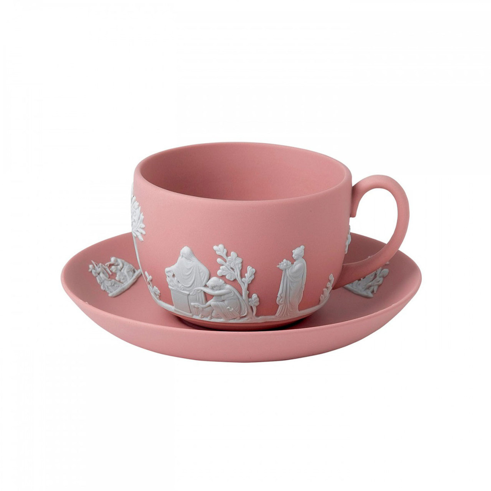 Y/öL Pastel Pink Coffee Mugs Tea Cups Set of 4 White Rim Stoneware Home Office 370ml