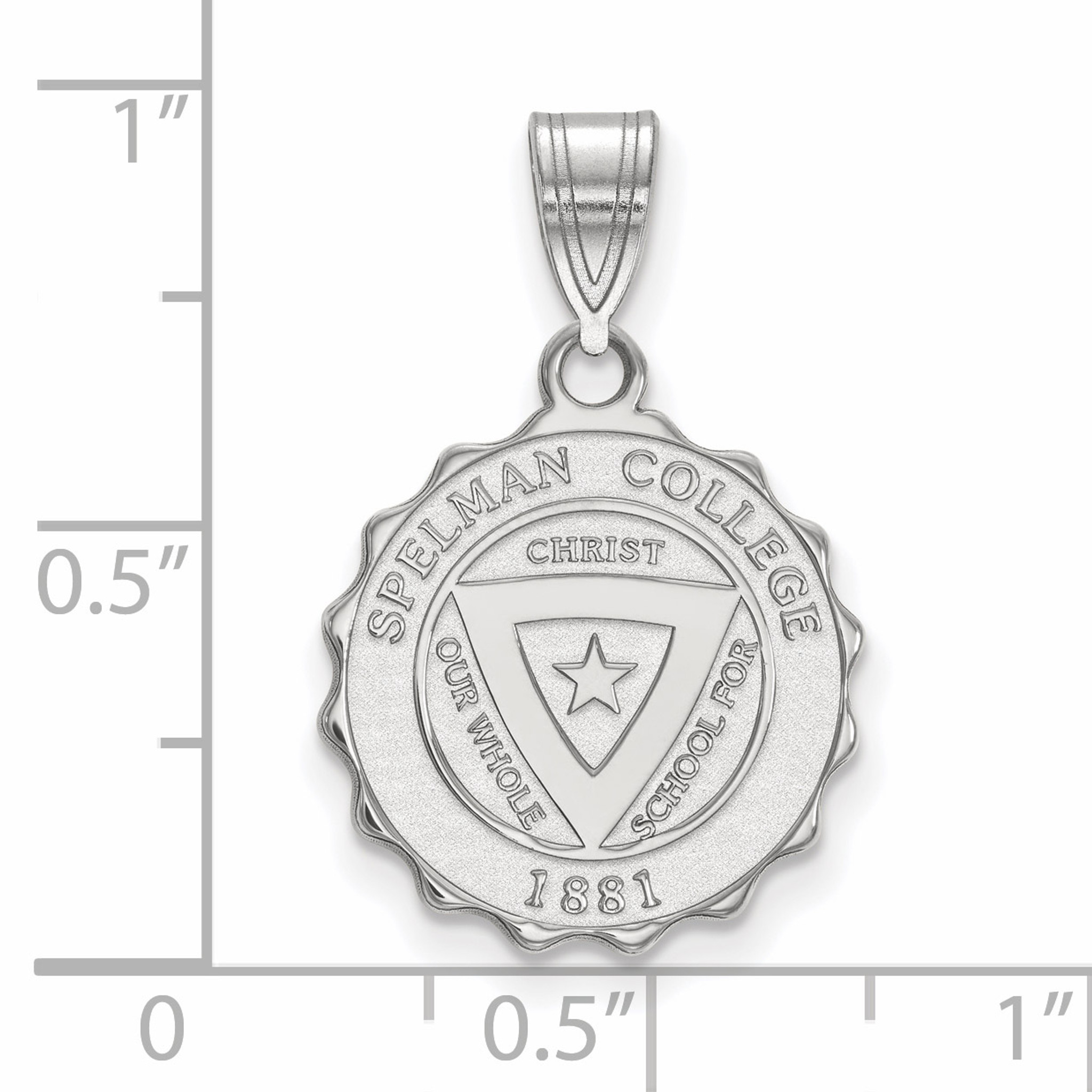 925 Sterling Silver Rhodium-plated Laser-cut Spelman College Small Pendant