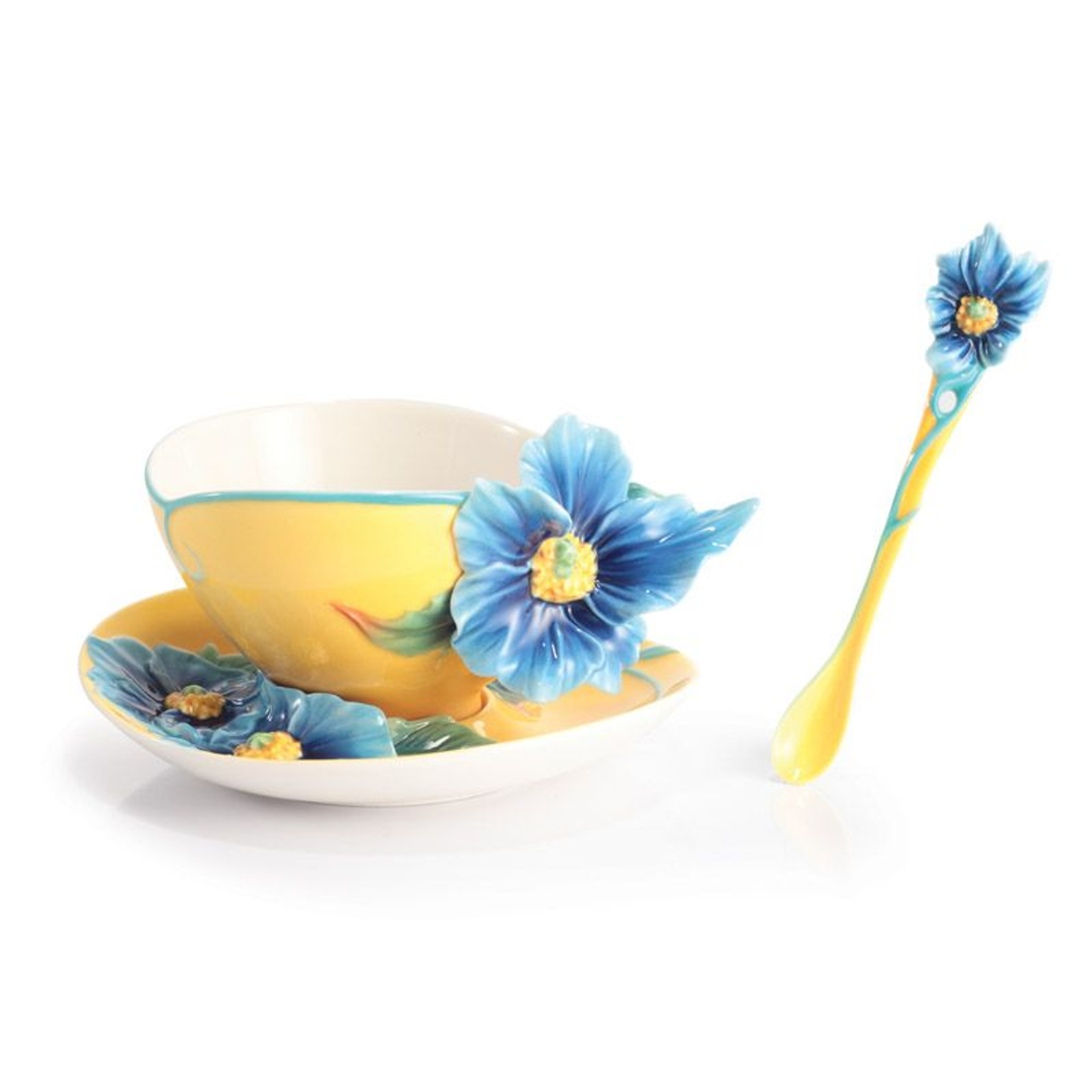 Franz Porcelain Strength And Will Blue Poppy Cup Saucer Spoon Set FZ6