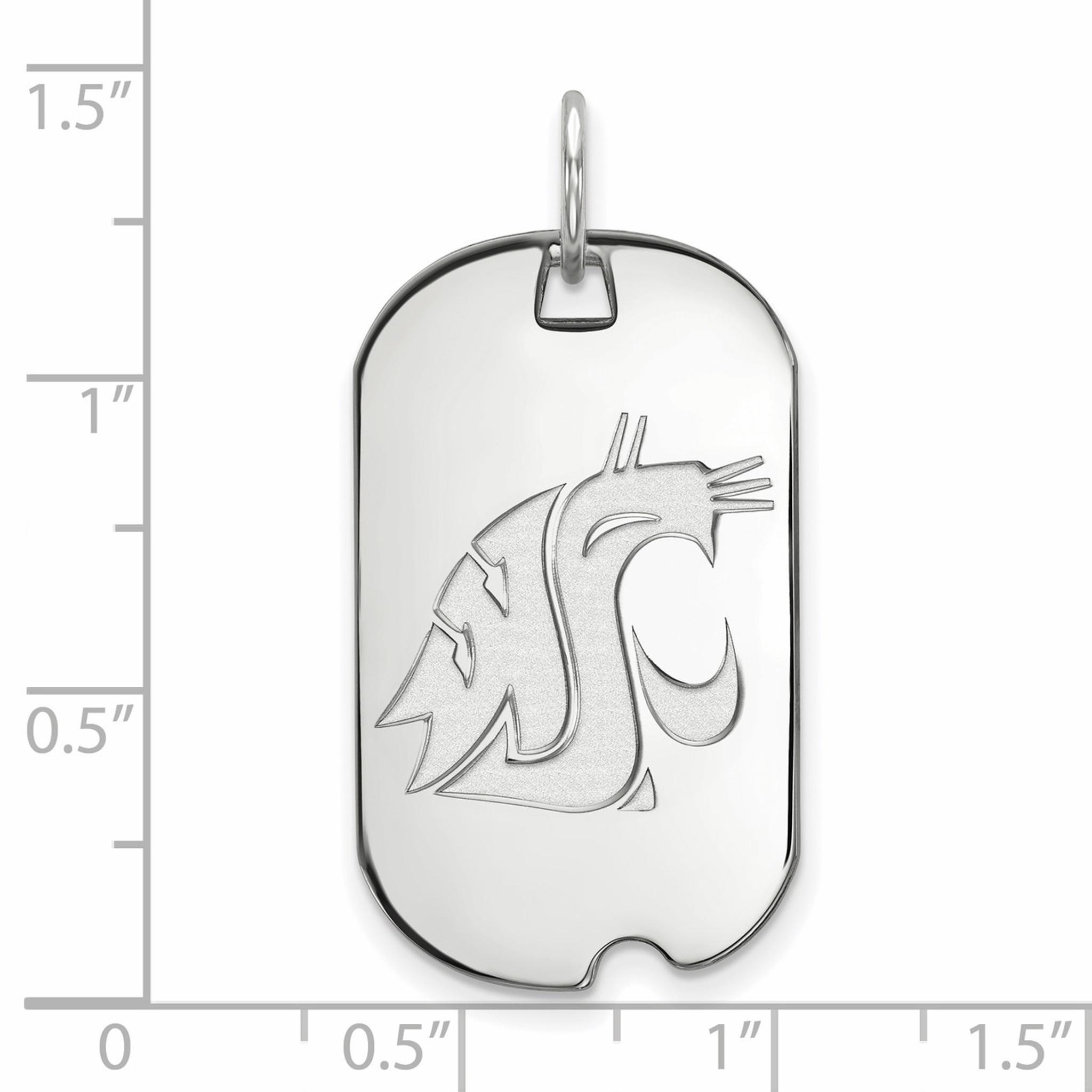 925 Sterling Silver Rhodium-plated Laser-cut Washington State University Large Dog Tag Pendant
