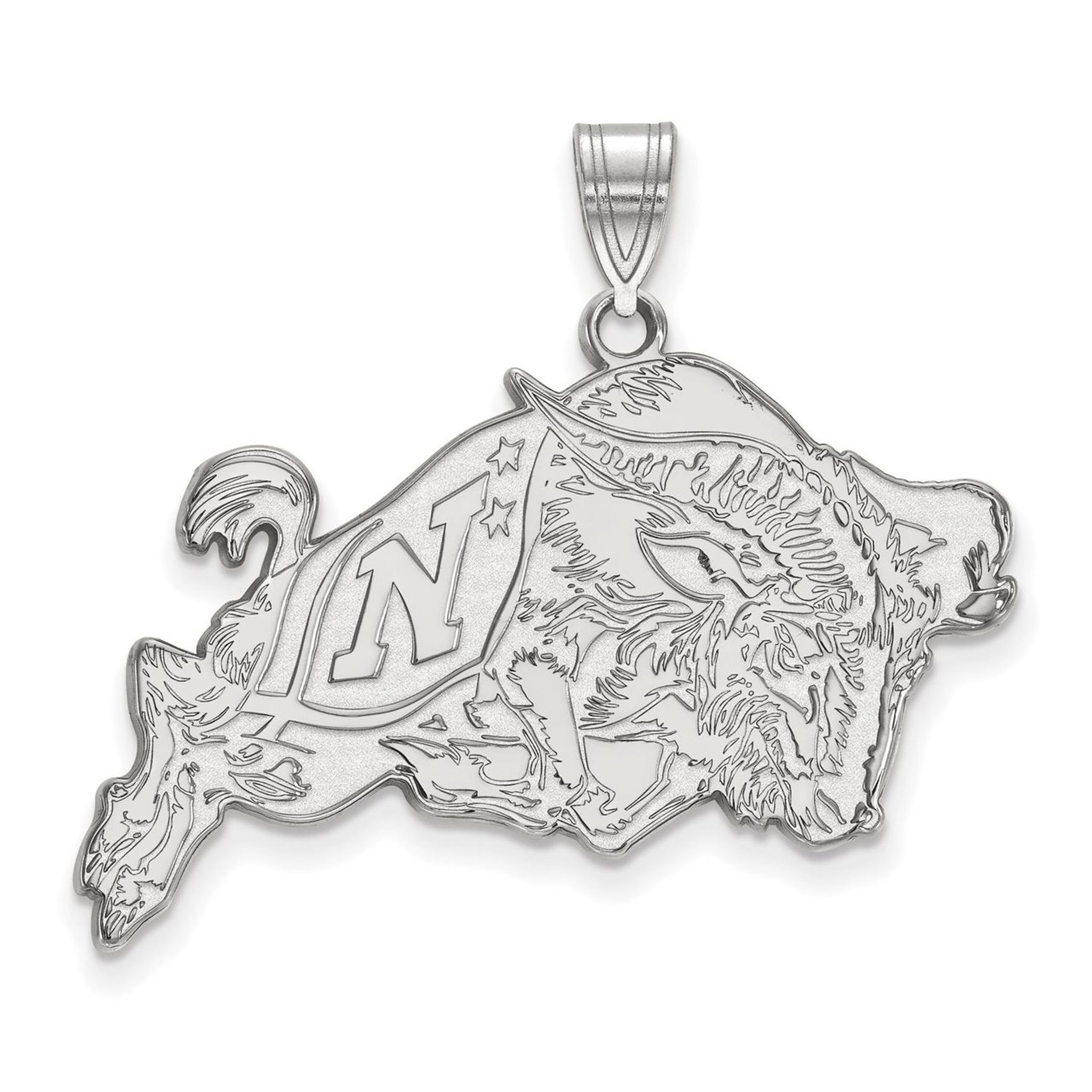 925 Sterling Silver Rhodium-plated Laser-cut United States Naval Academy Large Disc Pendant