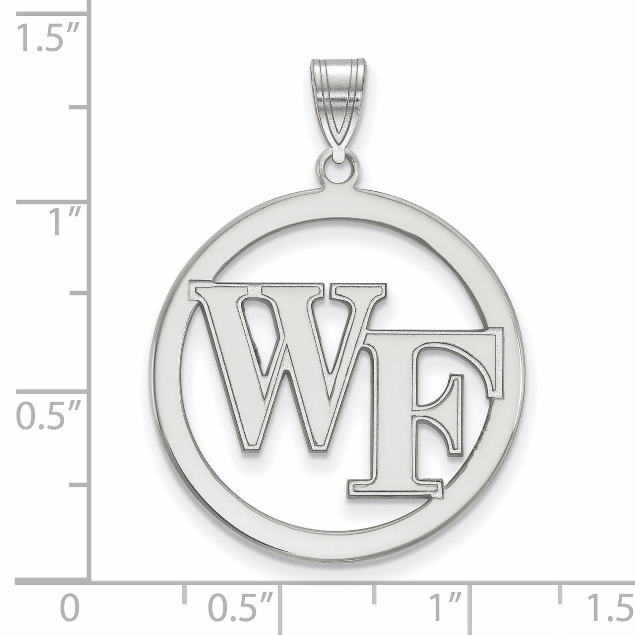 925 Sterling Silver Rhodium-plated Laser-cut Wake Forest University Large Pendant