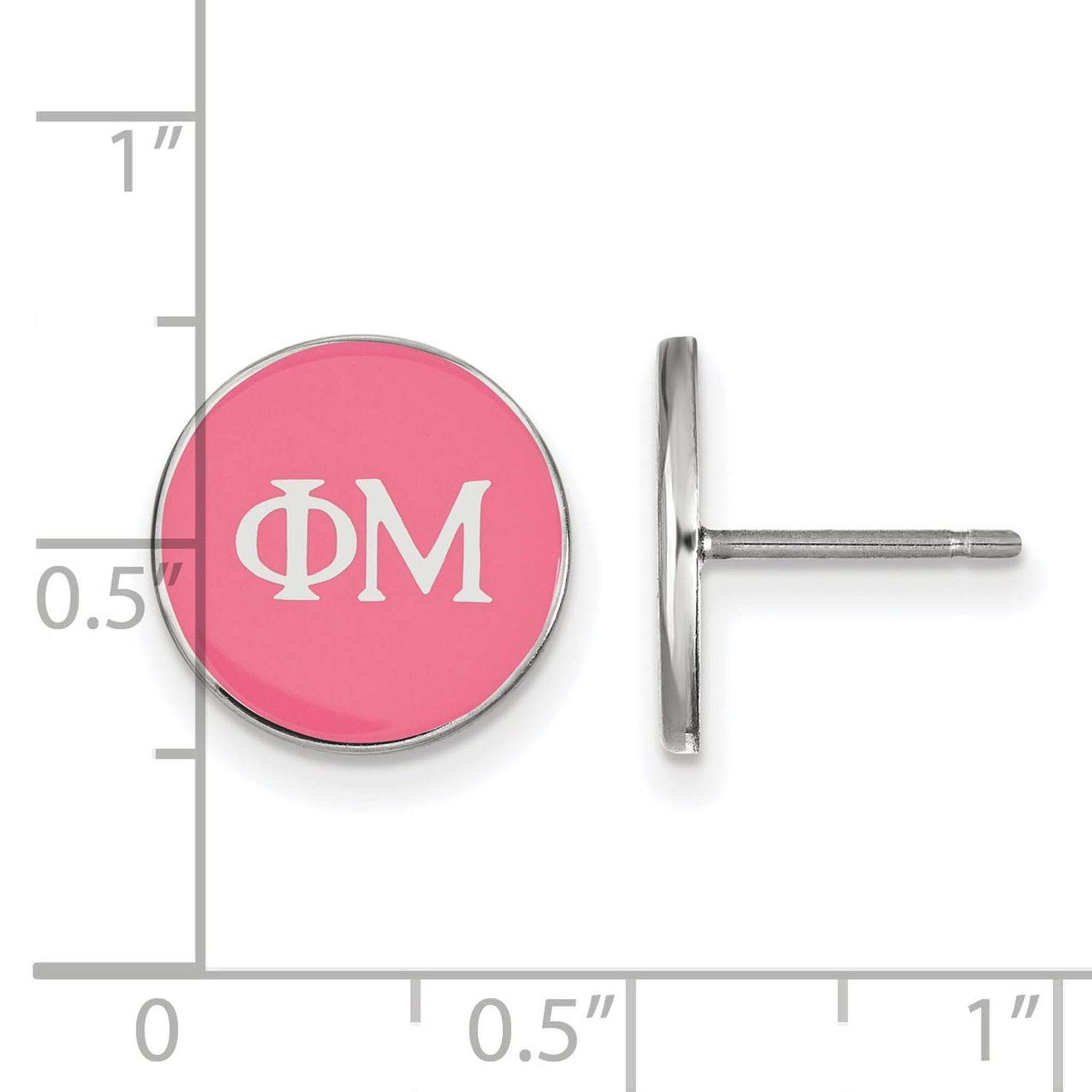 Greek Sororities Sterling Silver LogoArt Phi Mu Enameled Post Earrings Size One Size