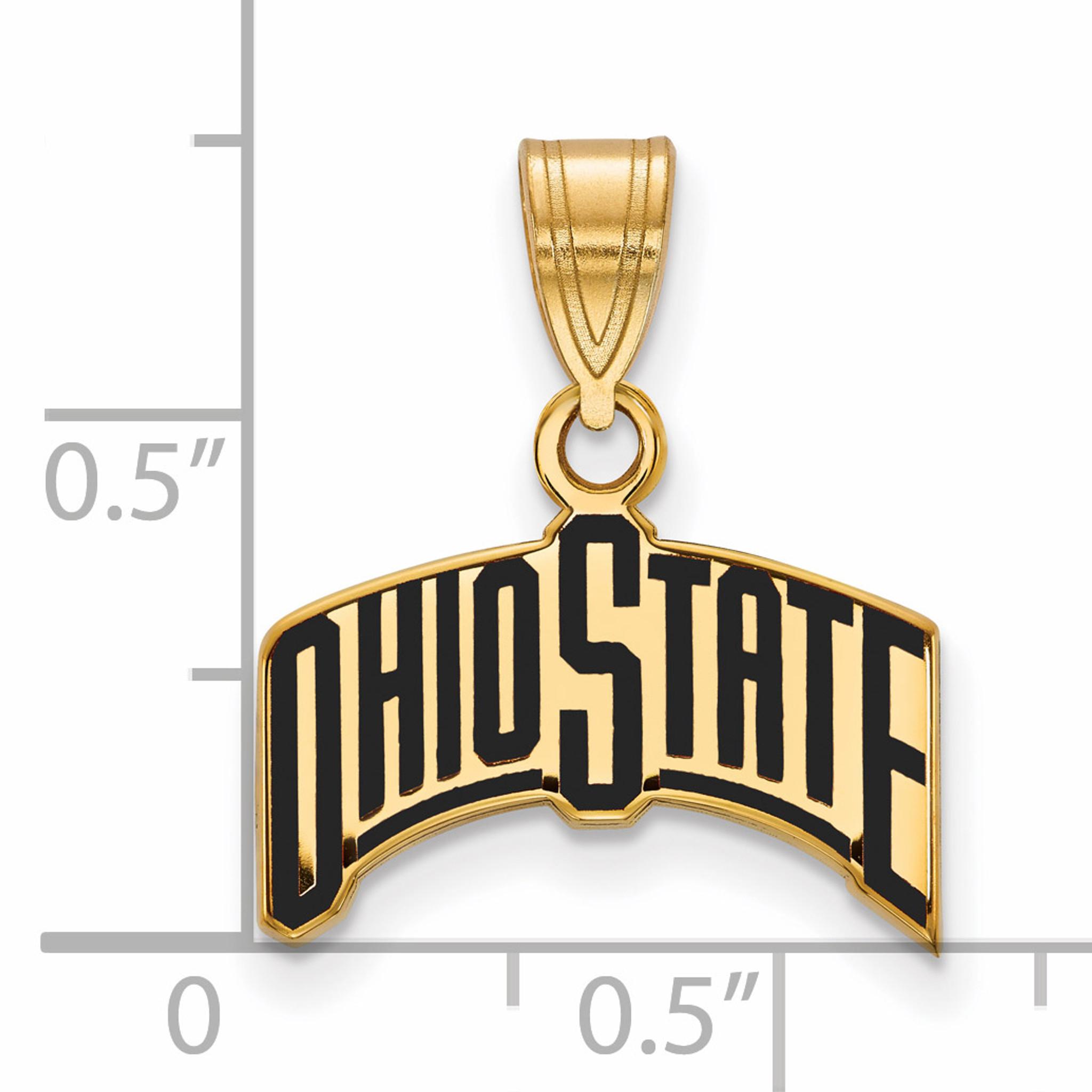 Collegiate Ohio State University Sterling Silver LogoArt Ohio State University Medium Enamel Pendant