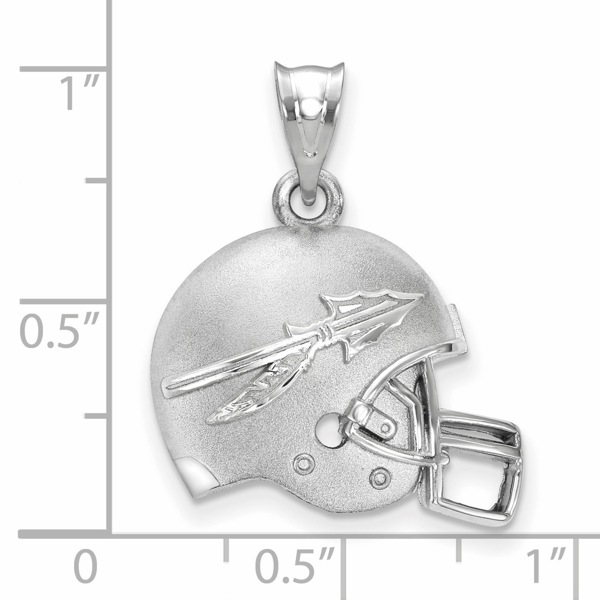 925 Sterling Silver Rhodium-plated Laser-cut Florida State University Football Helmet w//Logo Pendant
