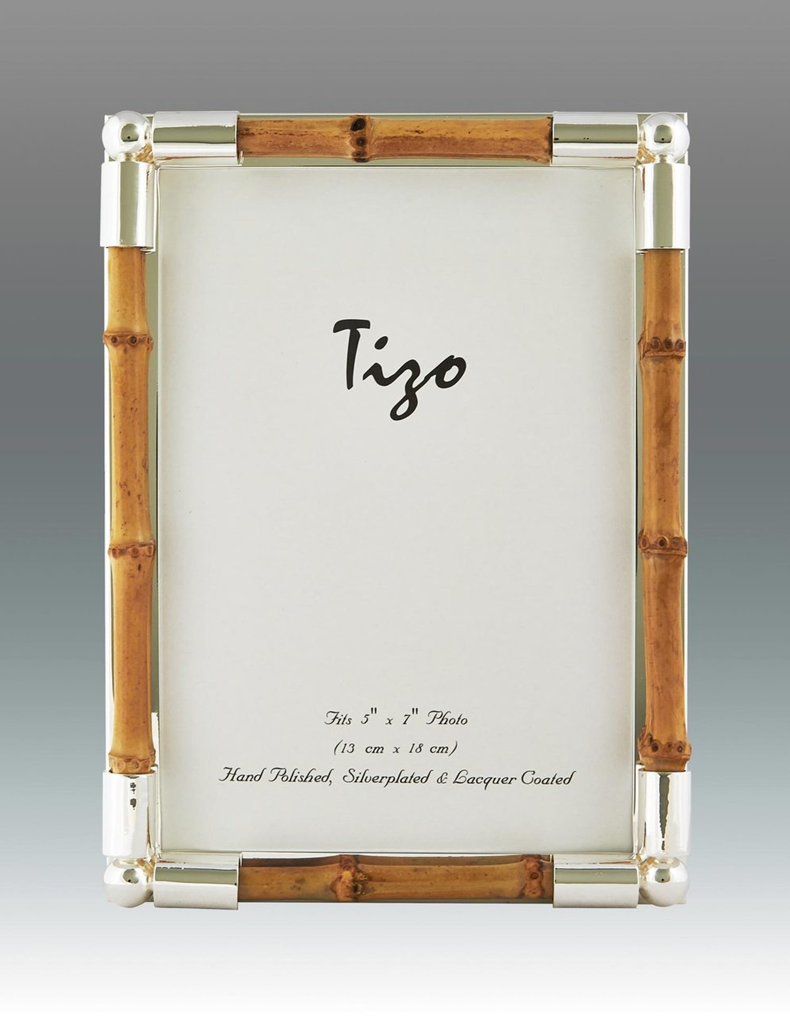 Tizo Bamboo Silver Plated Picture Frame 5 X 7 Inch