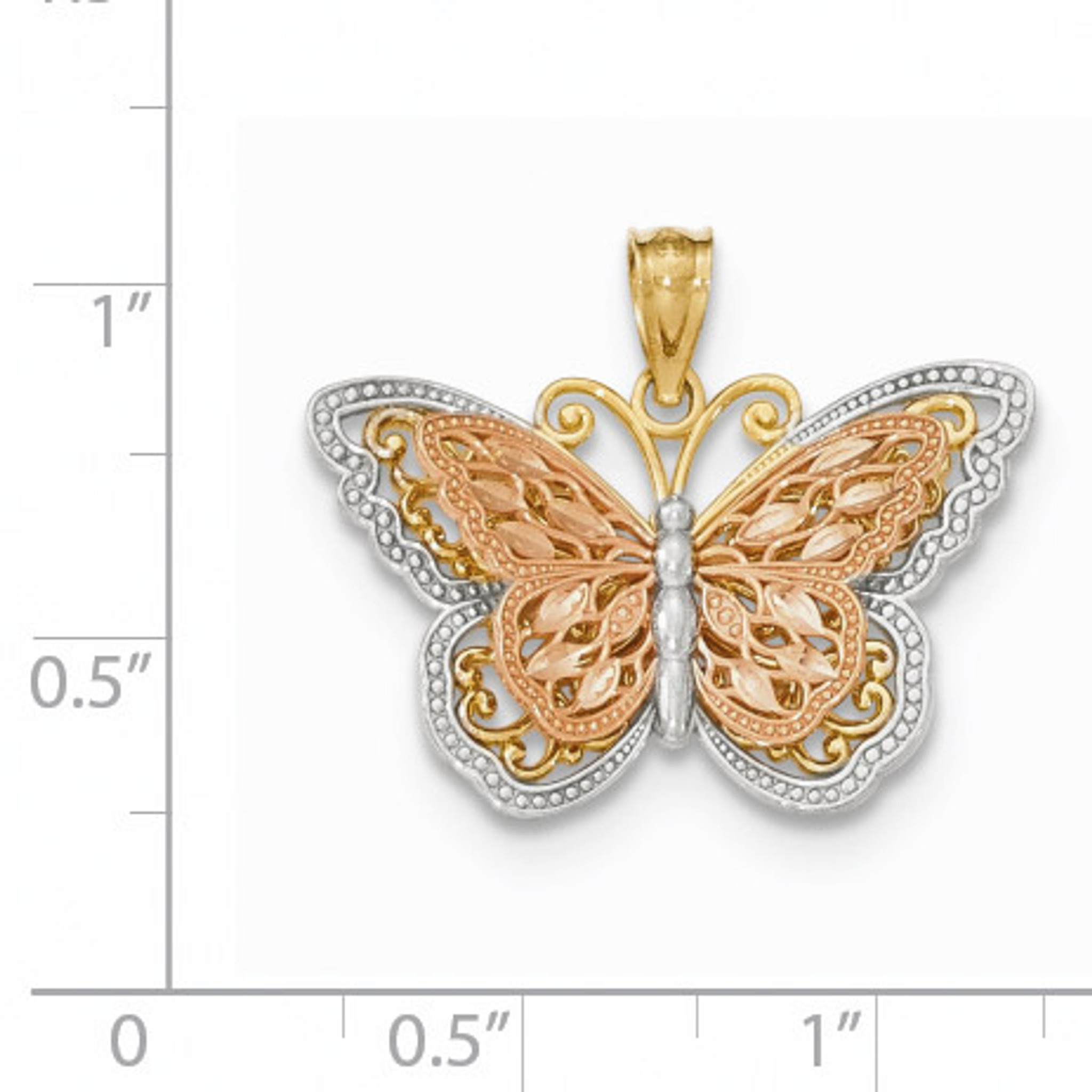 Details about  /14k 14kt Two-tone Tri-Color Butterfly In Round Frame Charm PENDANT 24.7 mm