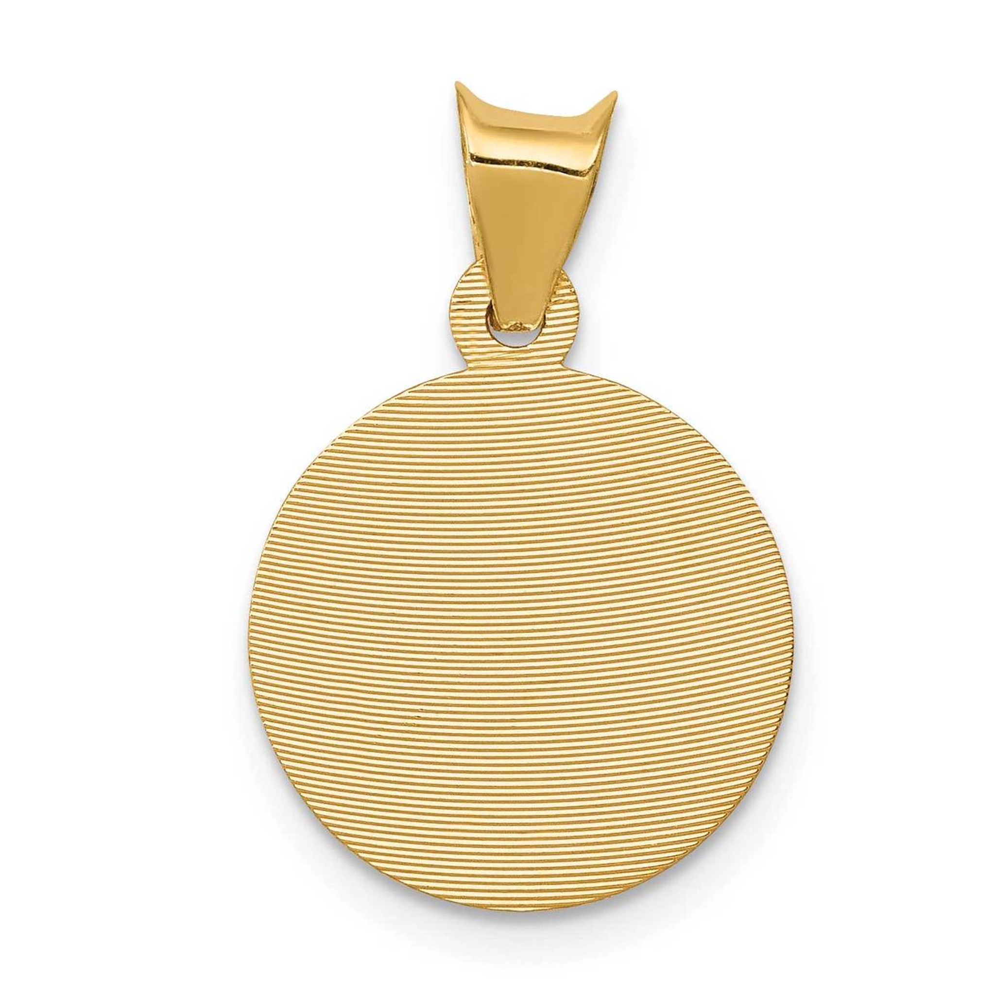 14K Yellow Gold and Rhodium Polished and Diamond-cut Baptism Circle Pendant