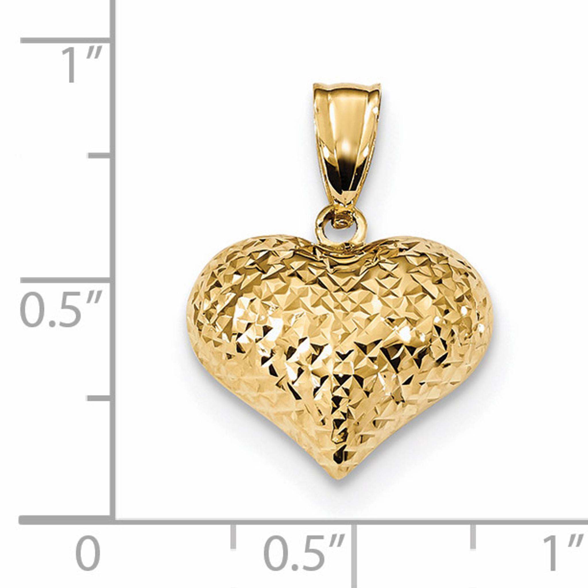 Sterling Silver Diamond Cut Puffed Heart Charm