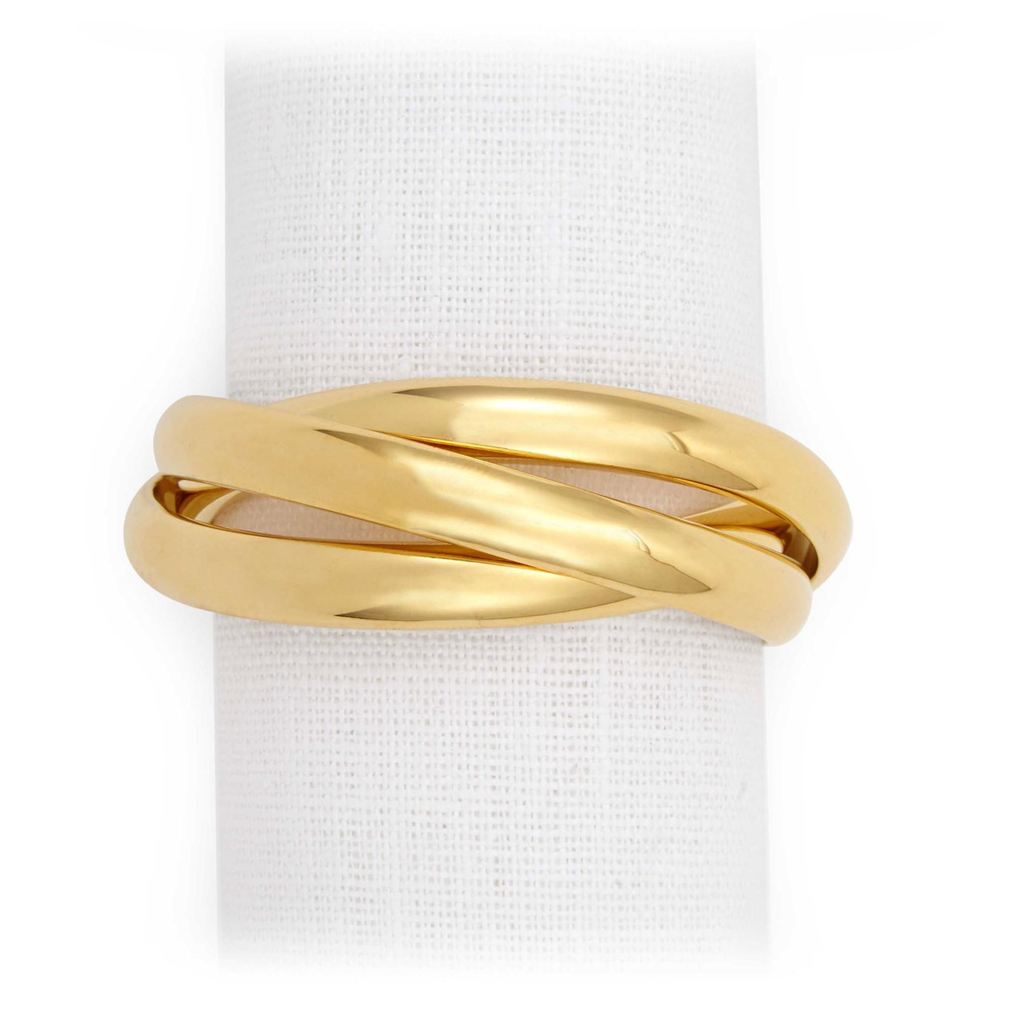 L Objet Three Ring Napkin Rings Gold Napkin Rings Nj1002 Homebello