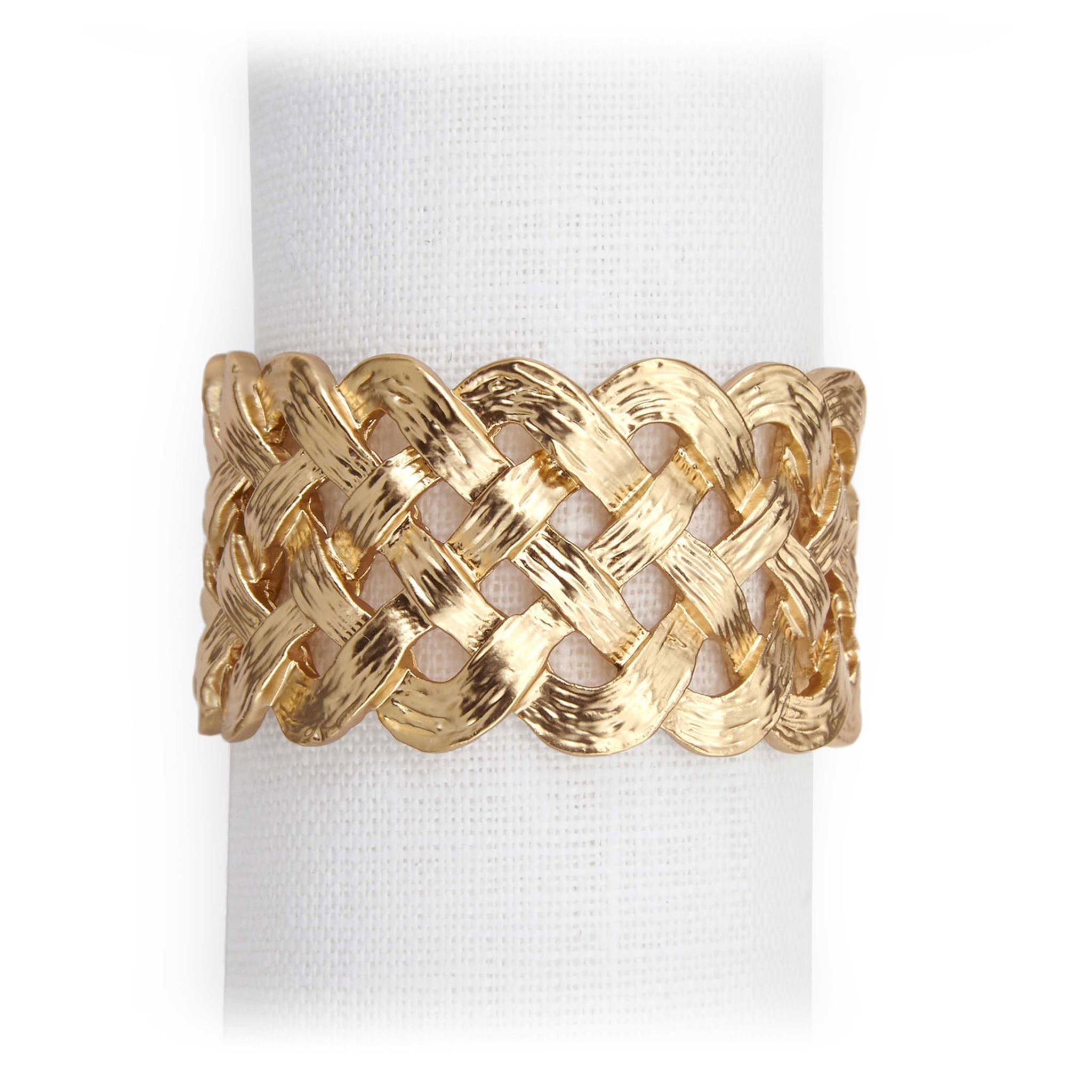 L Objet Braid Napkin Rings Gold Napkin Rings Nj3600 Homebello