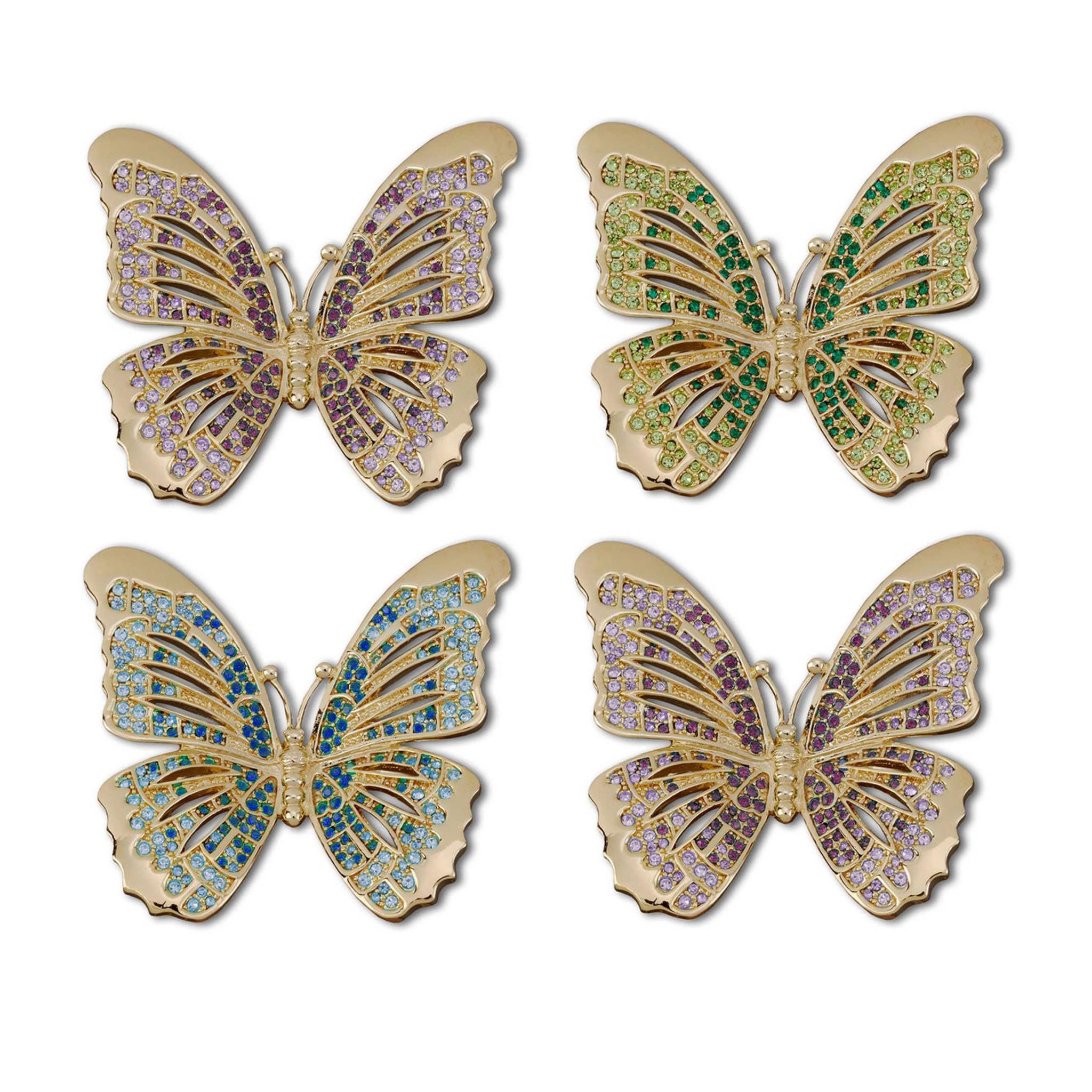 L Objet Butterfly Napkin Rings Gold Multi Color Crystals Napkin Rings Nj9901 Homebello