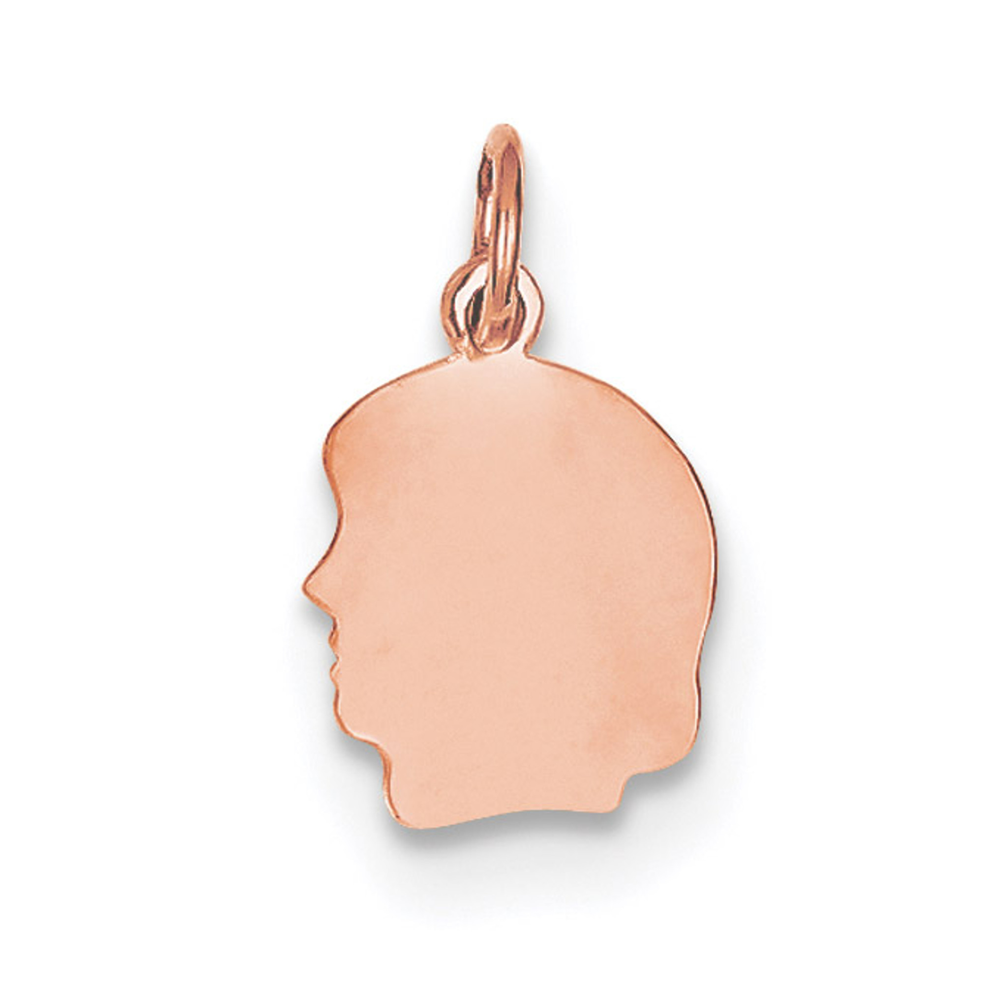14k Rose Gold Plain Small .018 Gauge Facing Left Engravable Girl Hd Charm