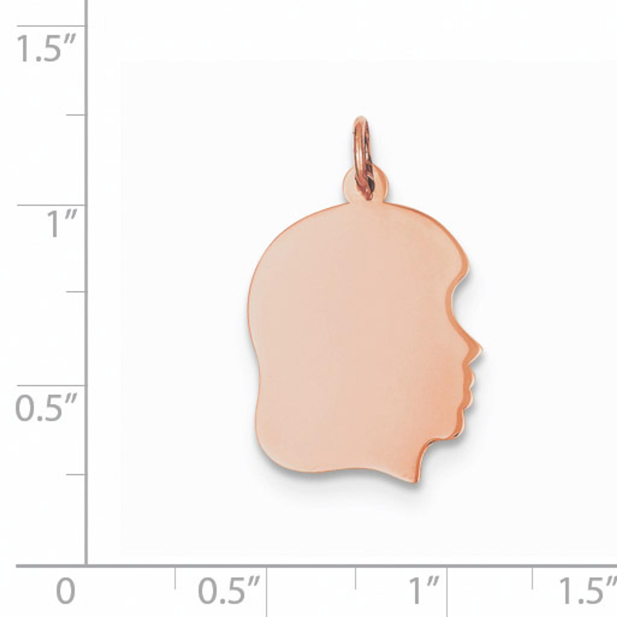 14k Rose Gold Plain Medium .011 Gauge Facing Left Engraveable Girl Head Charm