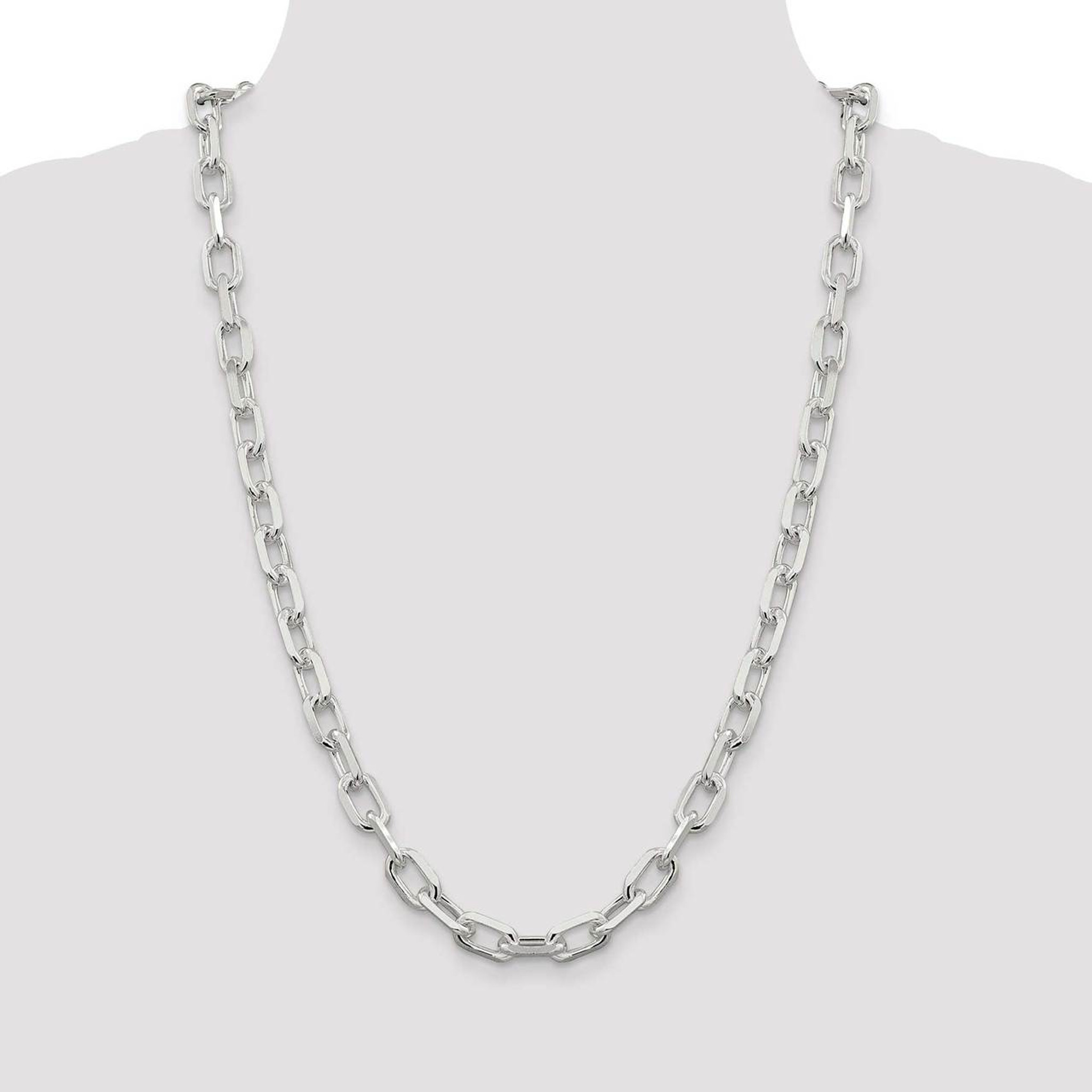 925 Sterling Silver 4.3mm Fancy Diamond-cut Open Link Cable Chain