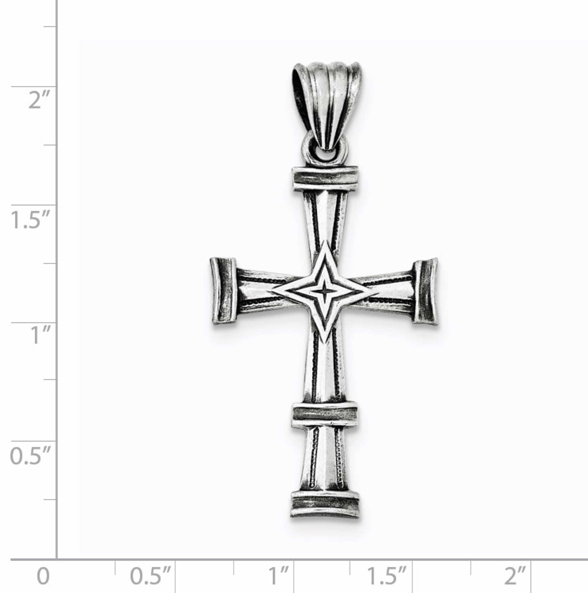 925 Sterling Silver Antiqued and Brushed Latin Cross Charm Pendant