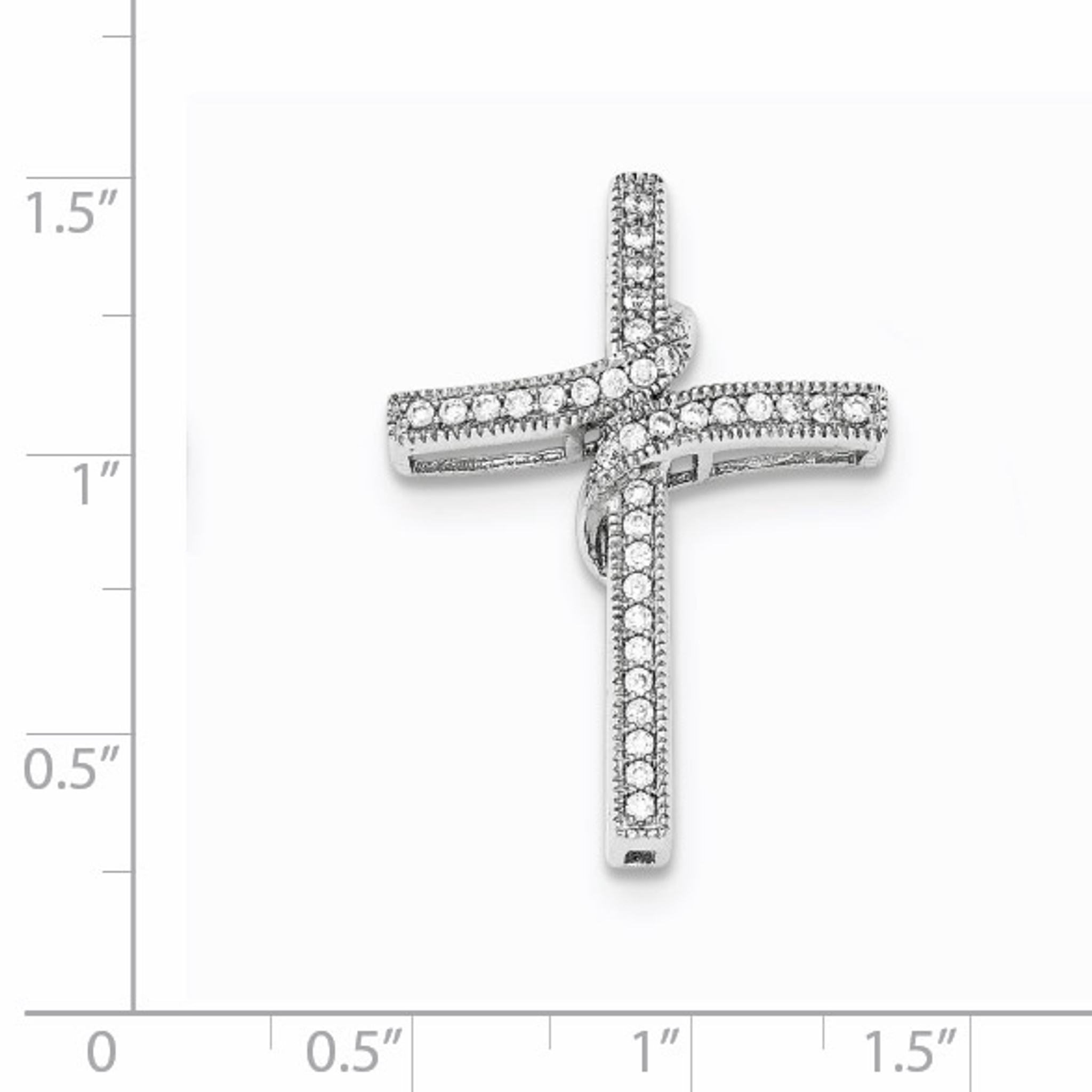 Sterling Silver Polished CZ Cross Chain Slide